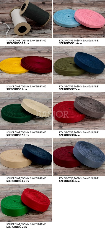 wzornik szerokosci kolorowych tasm bawelnianych