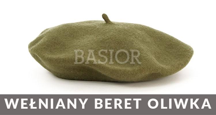 beret wełniany oliwka