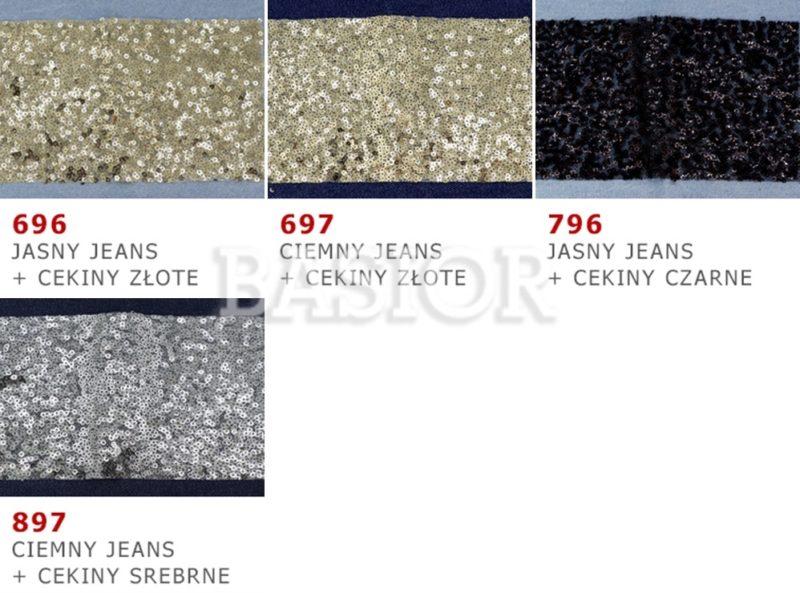 wzornik materialu do łatania cekiny jeans